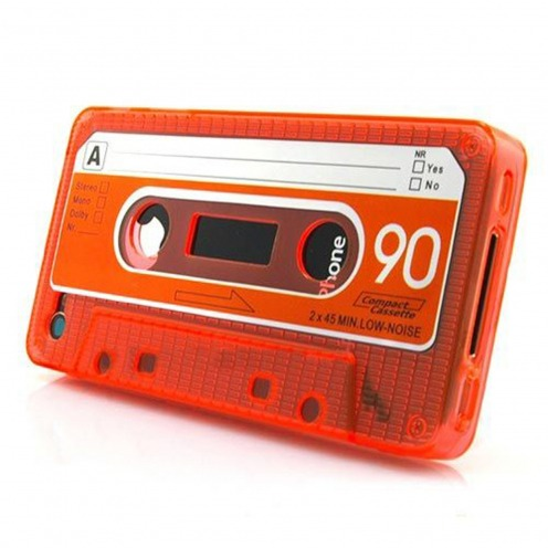 "Coque Cassette Design ""TAPE"" TPU Orange iPhone 4s / 4"