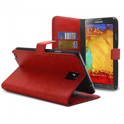 Smart Cover Samsung Galaxy Note 3 Neo / Lite Cuirette Marbrée Rouge