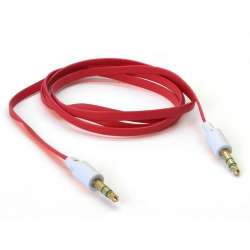 Jack to Jack 3.5 mm Stereo Flat audio cable - Male to Male - Red