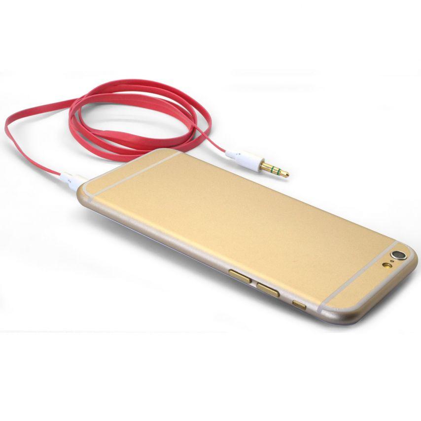 Visuel unique de Câble Audio Plat Jack 3.5 mm Mâle à Mâle - 1M - Rouge