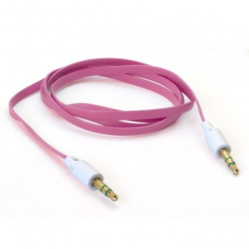 Zoom sur Câble Audio Plat Jack 3.5 mm Mâle à Mâle - 1M - Rose