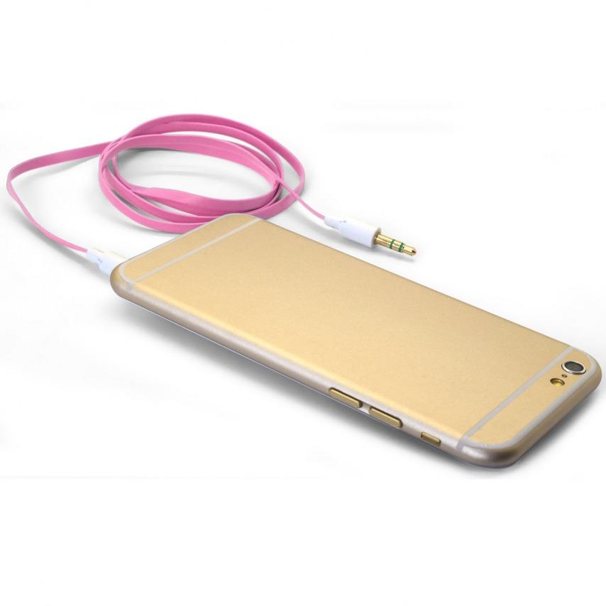 Visuel unique de Câble Audio Plat Jack 3.5 mm Mâle à Mâle - 1M - Rose