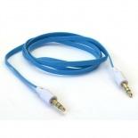 Zoom sur Câble Audio Plat Jack 3.5 mm Mâle à Mâle - 1M - Bleu