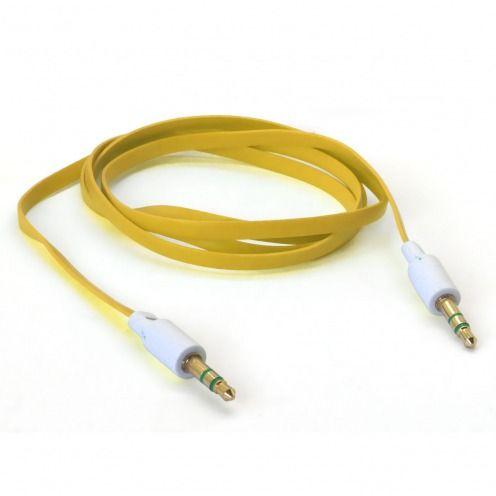 Zoom sur Câble Audio Plat Jack 3.5 mm Mâle à Mâle - 1M - Jaune