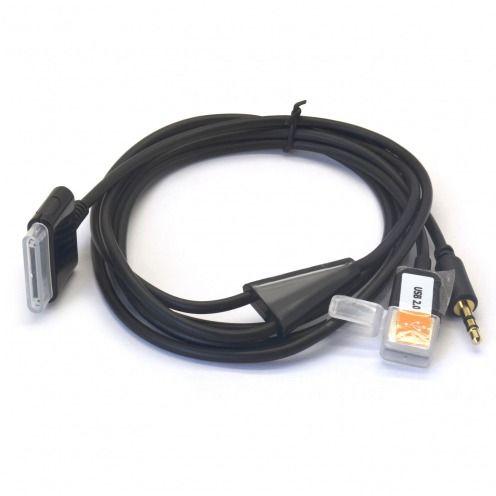 Zoom sur Câble de synchronisation Dock iPhone 3G/4/4S + Sortie Audio Ligne Noir