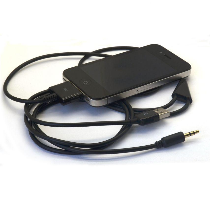 Visuel unique de Câble de synchronisation Dock iPhone 3G/4/4S + Sortie Audio Ligne Noir