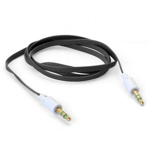 Zoom sur Câble Audio Plat Jack 3.5 mm Mâle à Mâle - 1M - Noir