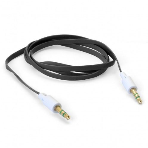 Jack to Jack 3.5 mm Stereo Flat audio cable - Male to Male - Black