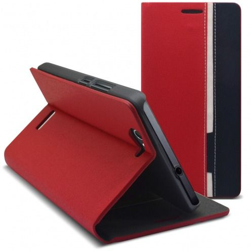 Photo réelle de Coque Etui Folio Wiko Getaway Monte Carlo Design Rouge/Bleu