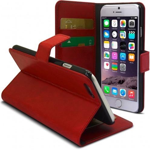 Vue complémentaire de Smart Cover iPhone 6 Cuirette Marbrée Rouge