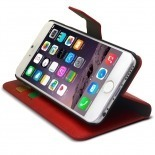 Photo réelle de Smart Cover iPhone 6 Cuirette Marbrée Rouge