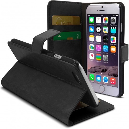 Smart Cover iPhone 6 Plus Cuirette Marbrée Noire