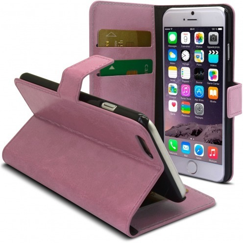 Smart Cover iPhone 6 Plus Cuirette Marbrée Rose
