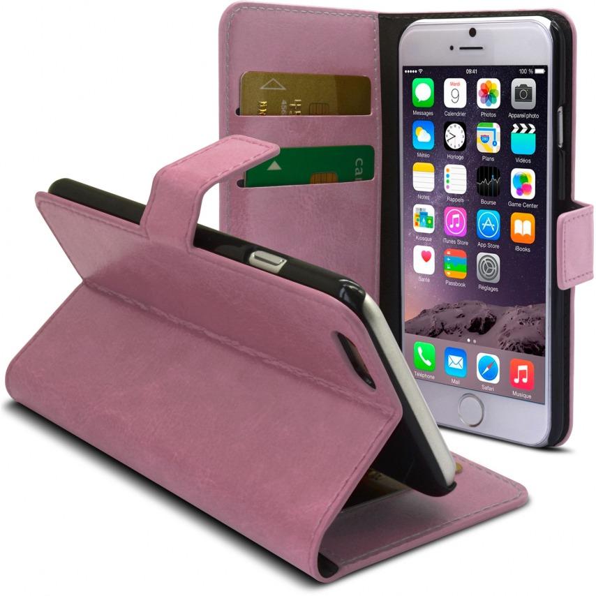 Vue complémentaire de Smart Cover iPhone 6 Plus Cuirette Marbrée Rose
