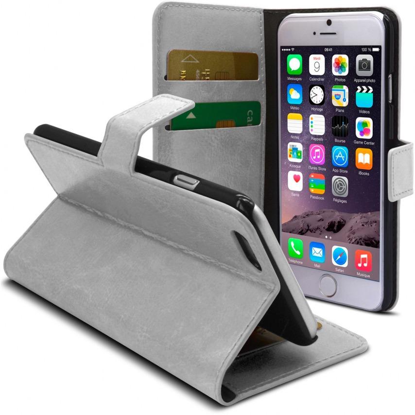 Vue complémentaire de Smart Cover iPhone 6 Plus Cuirette Marbrée Blanche