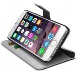 Photo réelle de Smart Cover iPhone 6 Plus Cuirette Marbrée Blanche