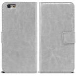 Vue portée de Smart Cover iPhone 6 Plus Cuirette Marbrée Blanche