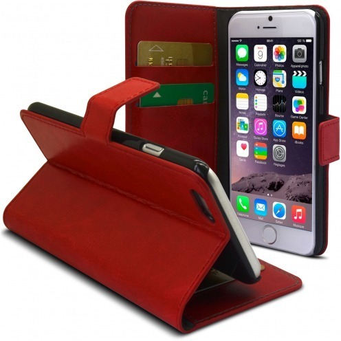 Smart Cover iPhone 6 Plus Cuirette Marbrée Rouge