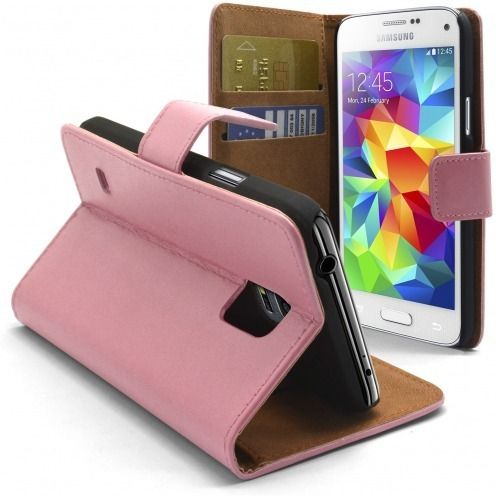 Housse Folio Stand Galaxy S5 Mini Cuir Eco Executive Rose