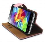Vue portée de Housse Folio Stand Galaxy S5 Mini Cuir Eco Executive Rose