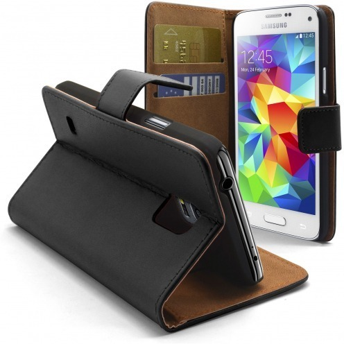 Housse Folio Stand Galaxy S5 Mini Cuir Eco Executive Noire
