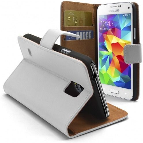 Housse Folio Stand Galaxy S5 Mini Cuir Eco Executive Blanche