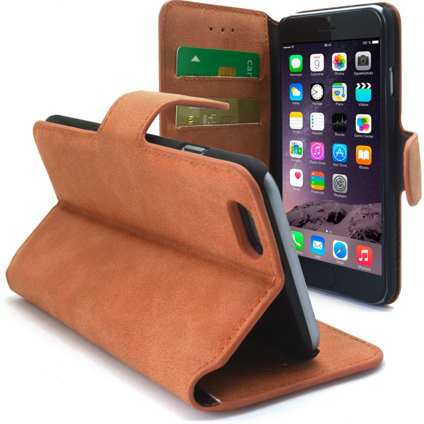 Vue complémentaire de Smart Cover iPhone 6 Plus Peau de pêche Noisette