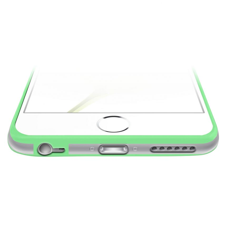 Vue complémentaire de Coque Bumper iPhone 6 Plus HQ Vert / Transparent