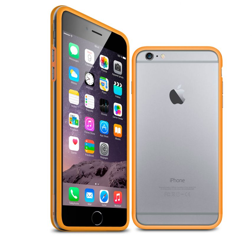 Visuel unique de Coque Bumper iPhone 6 Plus HQ Orange / Transparent