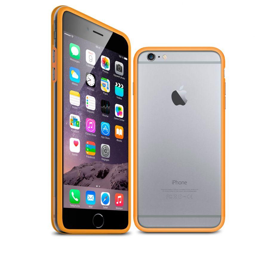 Visuel unique de Coque Bumper iPhone 6 Plus HQ Orange / Transparent