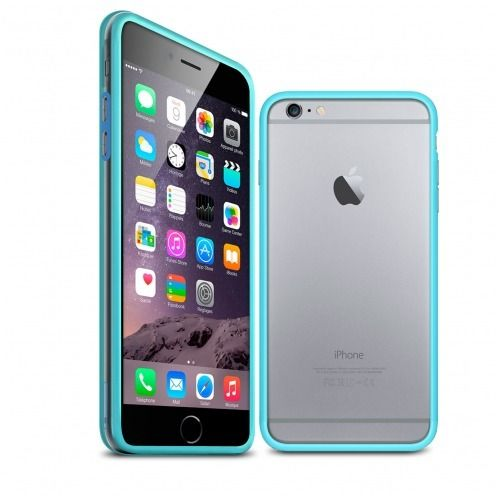 Visuel unique de Coque Bumper iPhone 6 Plus HQ Bleu / Transparent