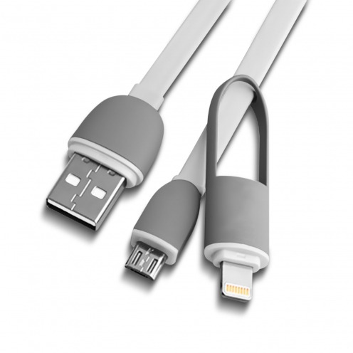 Câble Data USB 2.0 Smartconnect 2 en 1 Lightning/Micro USB 1M Blanc