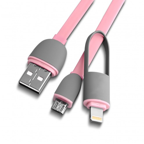 Vue portée de Câble Data 2 en 1 Lightning/Micro USB 1M Rose