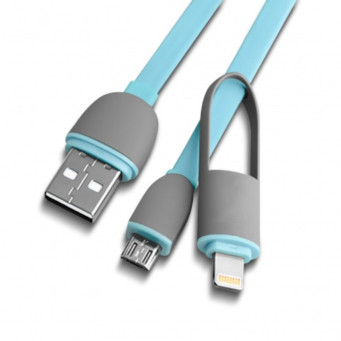 Câble Data USB 2.0 Smartconnect 2 en 1 Lightning/Micro USB 1M Bleu