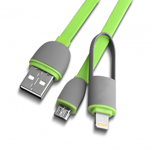 Câble Data USB 2.0 Smartconnect 2 en 1 Lightning/Micro USB 1M Vert