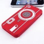 Vue portée de Housse Silicone Camera Rouge pour iPhone 4S / 4