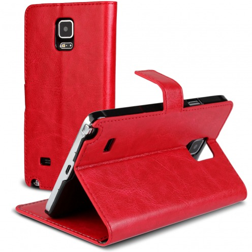 Smart Cover Galaxy Note 4 Cuirette Marbrée Rouge