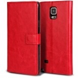 Photo réelle de Smart Cover Galaxy Note 4 Cuirette Marbrée Rouge