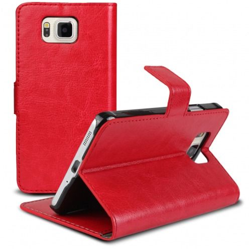 Smart Cover Galaxy Alpha Cuirette Marbrée Rouge