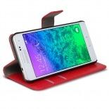 Vue complémentaire de Smart Cover Galaxy Alpha Cuirette Marbrée Rouge