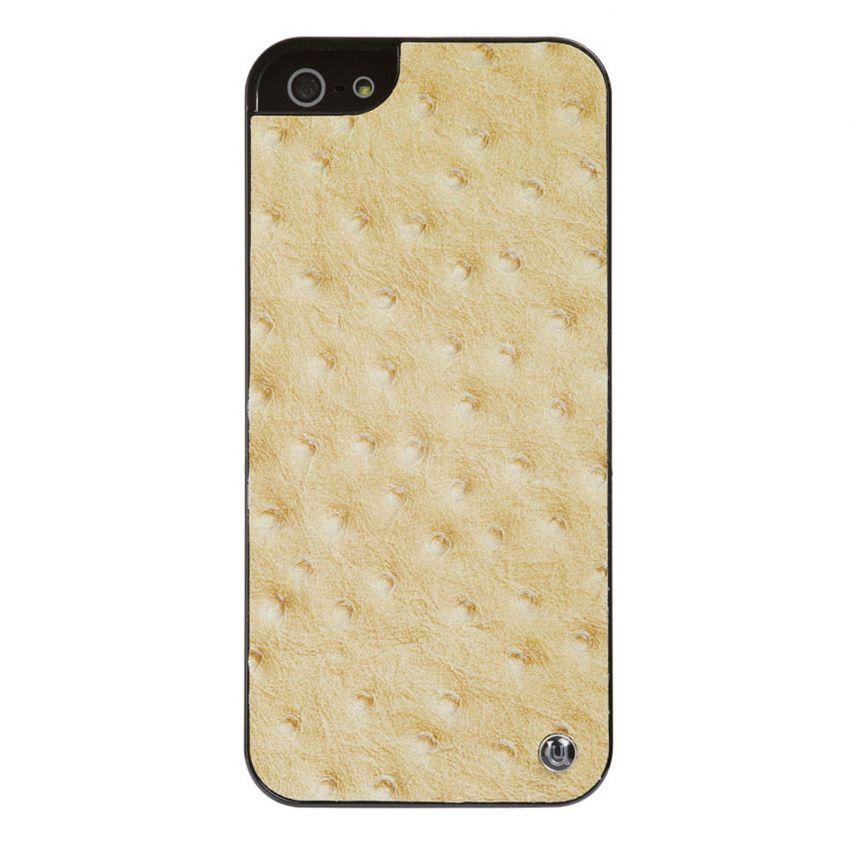 Vue complémentaire de Coque iPhone 5 / 5S Uunique London Cuir Veritable Ostrich Tan
