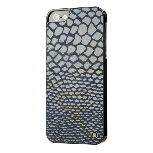 Coque iPhone 5 / 5S / SE Uunique® London Cuir Veritable Snake Bleu