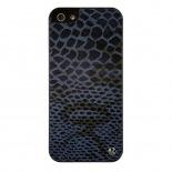Vue complémentaire de Coque iPhone 5 / 5S Uunique London Cuir Veritable Snake Bleu