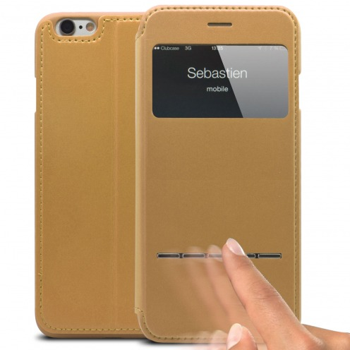 Coque Folio Smart Touch View Cuir Eco Or pour iPhone 6 Plus
