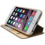 Vue portée de Coque Folio Smart Touch View Cuir Eco Or pour iPhone 6 Plus