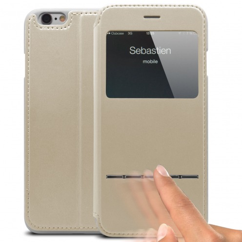 Vue Principale de Coque Folio Smart Touch View Cuir Eco Blanc pour iPhone 6