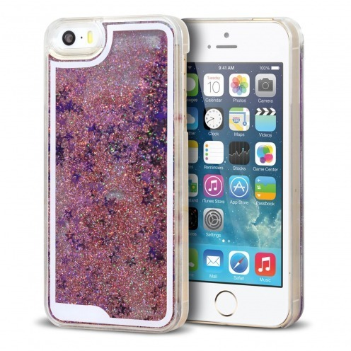 Coque Crystal Glitter Liquid Diamonds Rose iPhone 5/5S/SE