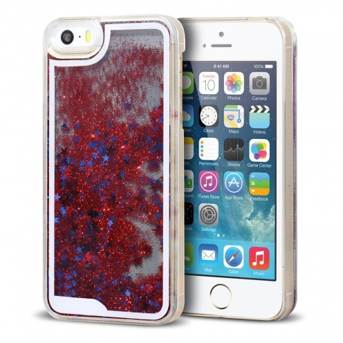 Coque Crystal Glitter Liquid Diamonds Rouge iPhone 5/5S/SE