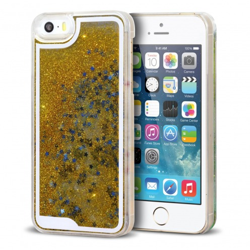 Coque Crystal Glitter Liquid Diamonds Or iPhone 5/5S/SE