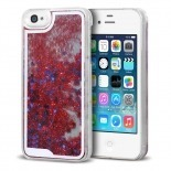 Visuel unique de Coque Crystal Glitter Liquid Diamonds Rouge iPhone 4/4S